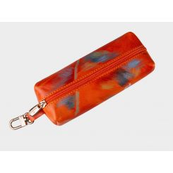 Дизайнерская ключница оранжевого цвета из натуральной кожи от Alexander TS, арт. «Танцовщицы»