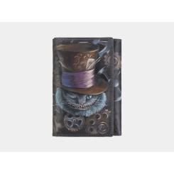 Дизайнерский женский кошелек из черной натуральной кожи с рисунком от Alexander TS, арт. № 1 «Чешир в шляпе»