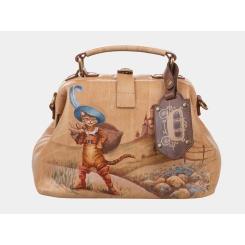 Роскошная бежевая женская сумка из натуральной кожи с дизайнерским рисунком от Alexander TS, арт. «Кот в сапогах»