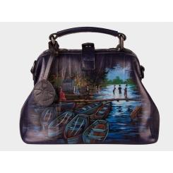 Элегантная дизайнерская женская сумка синего цвета с роскошным рисунком от Alexander TS, арт. Ла Гренуэр