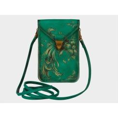 Зеленая дизайнерская женская сумка клатч, выполненная из натуральной кожи от Alexander TS, арт. Литтл «Капитель»