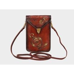 Роскошная дизайнерская женская мини-сумка из натуральной кожи от Alexander TS, арт. Литтл «Карта Сокровищ»