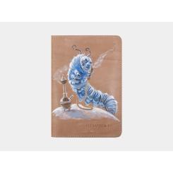 Бежевая обложка для паспорта из натуральной кожи, модель с дизайнерским рисунком от Alexander TS, арт. Обложка для документов «Гусеница из Зазеркалья»