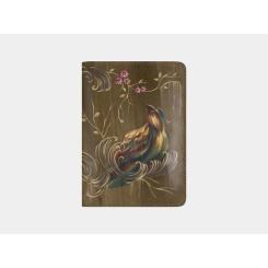 Дизайнерская обложка для паспорта оливкового цвета, выполнена из натуральной кожи от Alexander TS, арт. Обложка для документов «Райская птица»