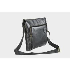 Мужская сумка планшет из натуральной кожи с удобным плечевым ремнем от Alexander TS, арт. P0012 Black