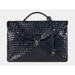 Большой плетеный мужской портфель из натуральной кожи темно-синего цвета от Alexander TS, арт. PF0017 Blue