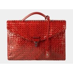 Большой плетеный мужской портфель из натуральной кожи бордового цвета от Alexander TS, арт. PF0017 Bordo