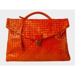 Большой плетеный мужской портфель из натуральной кожи оранжевого цвета от Alexander TS, арт. PF0017 Orange
