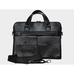 Мужская деловая сумка из натуральной гладкой кожи с эффектом помятости от Alexander TS, арт. PF0013 Black