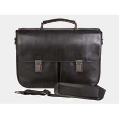 Большой мужской портфель из гладкой натуральной кожи с широким клапаном от Alexander TS, арт. PF0014-1