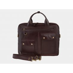 Практичная мужская деловая сумка из плотной натуральной кожи высокого качества от Alexander TS, арт. PF0019 Brown