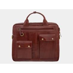 Стильная мужская деловая сумка, вмещающая документы и разные мелочи от Alexander TS, арт. PF0019 Cognac