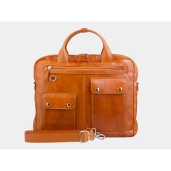 Мужская деловая сумка оранжевого цвета, выполнена из натуральной кожи от Alexander TS, арт. PF0019 Orange