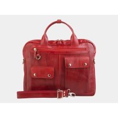 Стильная мужская деловая сумка из красной натуральной кожи с глянцем от Alexander TS, арт. PF0019 Red