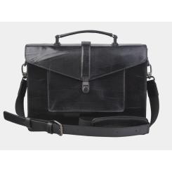 Модная женская сумка портфель из натуральной кожи черного цвета от Alexander TS, арт. PF0021 Black