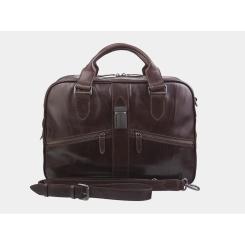 Большая деловая мужская кожаная сумка для документов и ноутбука от Alexander TS, арт. PF0022 Brown