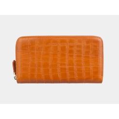 Красивое мужское портмоне из оранжевой натуральной кожи с тиснением от Alexander TS, арт. PR0014 Orange Croco