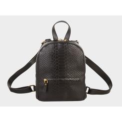Компактный городской женский рюкзак из кожи с эффектным тиснением от Alexander TS, арт. R0032 Black Piton