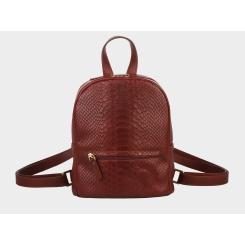 Городской женский рюкзак из натуральной кожи с тиснением под питона от Alexander TS, арт. R0032 Cognac Piton