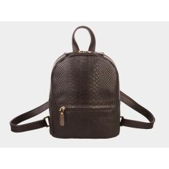 Городской женский рюкзак из натуральной темно-коричневой кожи от Alexander TS, арт. R0032 Dark Brown Piton