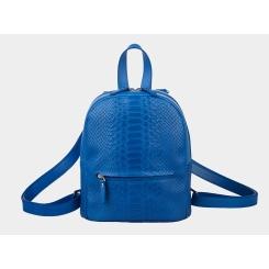 Городской женский рюкзак из тисненной натуральной кожи синего цвета от Alexander TS, арт. R0032 Electric Piton