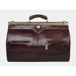 Вместительный кожаный саквояж с большим отделом и несколькими кармашками от Alexander TS, арт. SD001 Brown