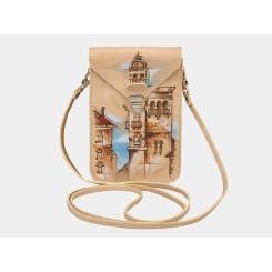 Дизайнерская женская кожаная сумочка формата мини с необычным рисунком от Alexander TS, арт. Сумочка «Башня»