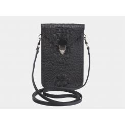 Вертикальный женский клатч черного цвета, из кожи с тиснением под каймана от Alexander TS, арт. SW10 Black Kayman1