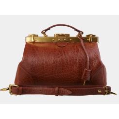 Небольшой кожаный саквояж, коричневого цвета, со съемным плечевым ремнем от Alexander TS, арт. SW15 Cognac Bizon