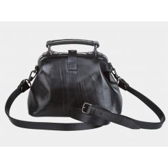 Женская компактная кожаная сумка классического черного цвета от Alexander TS, арт. W0013 Black