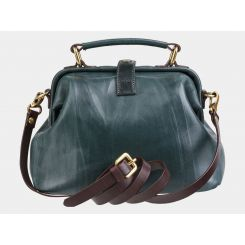 Зеленая женская каркасная сумка из натуральной кожи от Alexander TS, арт. W0013 Green Brown