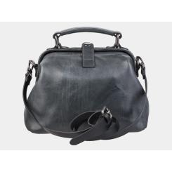Стильная женская каркасная сумка из серой натуральной кожи от Alexander TS, арт. W0013 Grey
