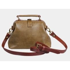 Женская кожаная сумка оливкового цвета с тиснением под питона от Alexander TS, арт. W0013 Olive Piton