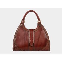 Элегантная женская каркасная сумка из коричневой натуральной кожи от Alexander TS, арт. W0022 Brown