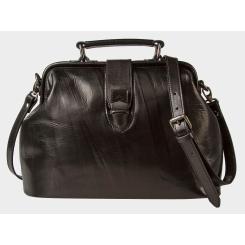 Стильная женская сумка из натуральной черной кожи с удобной ручкой от Alexander TS, арт. W0023 Black