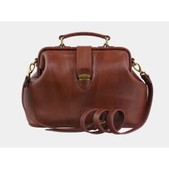 Женская сумка из коричневой натуральной кожи, с одним отделом и съемным ремнем от Alexander TS, арт. W0023 Cognac