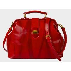 Яркая и эффектная женская сумка из блестящей красной натуральной кожи от Alexander TS, арт. W0023 Red