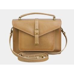 Бежевая женская сумка из натуральной кожи с плечевым ремнем  от Alexander TS, арт. W0034 Beige