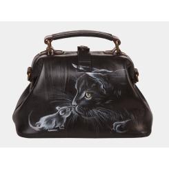 Роскошная дизайнерская женская сумка из дорогой черной натуральной кожи от Alexander TS, арт. «Знакомство»