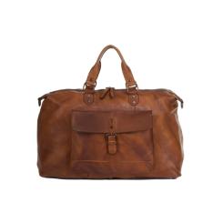 Мужская кожаная дорожная сумка с большим накладным карманом под клапаном от Ashwood Leather, арт. 1337 Tan