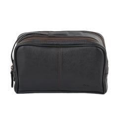 Практичный мужской несессер из качественной коричневой кожи от Ashwood Leather, арт. 2012 Dark Brown
