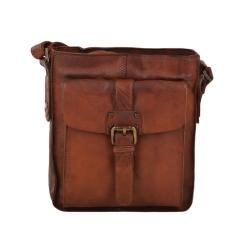 Стильная мужская сумка планшет с накладным кармашком и декоративным ремешком от Ashwood Leather, арт. 7993 Rust
