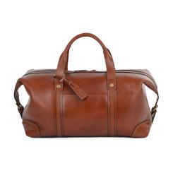 Большая мужская дорожная сумка из натуральной кожи коньячного цвета от Ashwood Leather, арт. Stanley Cognac