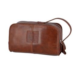 Кожаный мужской несессер орехового цвета, модель с двумя отделениями от Ashwood Leather, арт. 1667 Chestnut