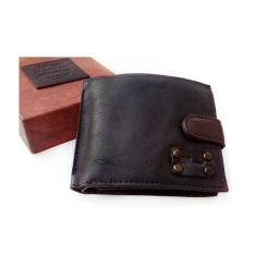 Компактное мужское портмоне коричневого цвета, модель с клапаном на кнопке от Ashwood Leather, арт. 1775 Brown