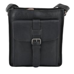 Компактная мужская сумка через плечо из натуральной кожи черного цвета от Ashwood Leather, арт. 4551 Black