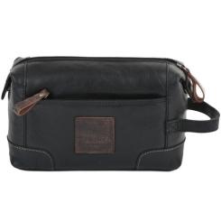 Удобный мужской несессер из натуральной кожи черного цвета от Ashwood Leather, арт. 4557 Black