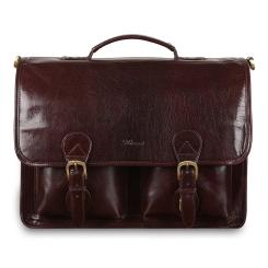 Большой мужской портфель, темно коричневого цвета, с двумя отделениями от Ashwood Leather, арт. 8190 Cognac