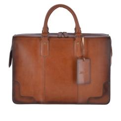 Стильная большая мужская деловая сумка из плотной натуральной кожи от Ashwood Leather, арт. Dr.Bag Tan