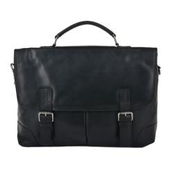 Стильный мужской портфель из натуральной кожи для документов и ноутбука от Ashwood Leather, арт. Elliot Black